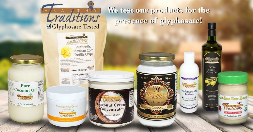A collage of glyphosate tested tropical traditions coconut oil products