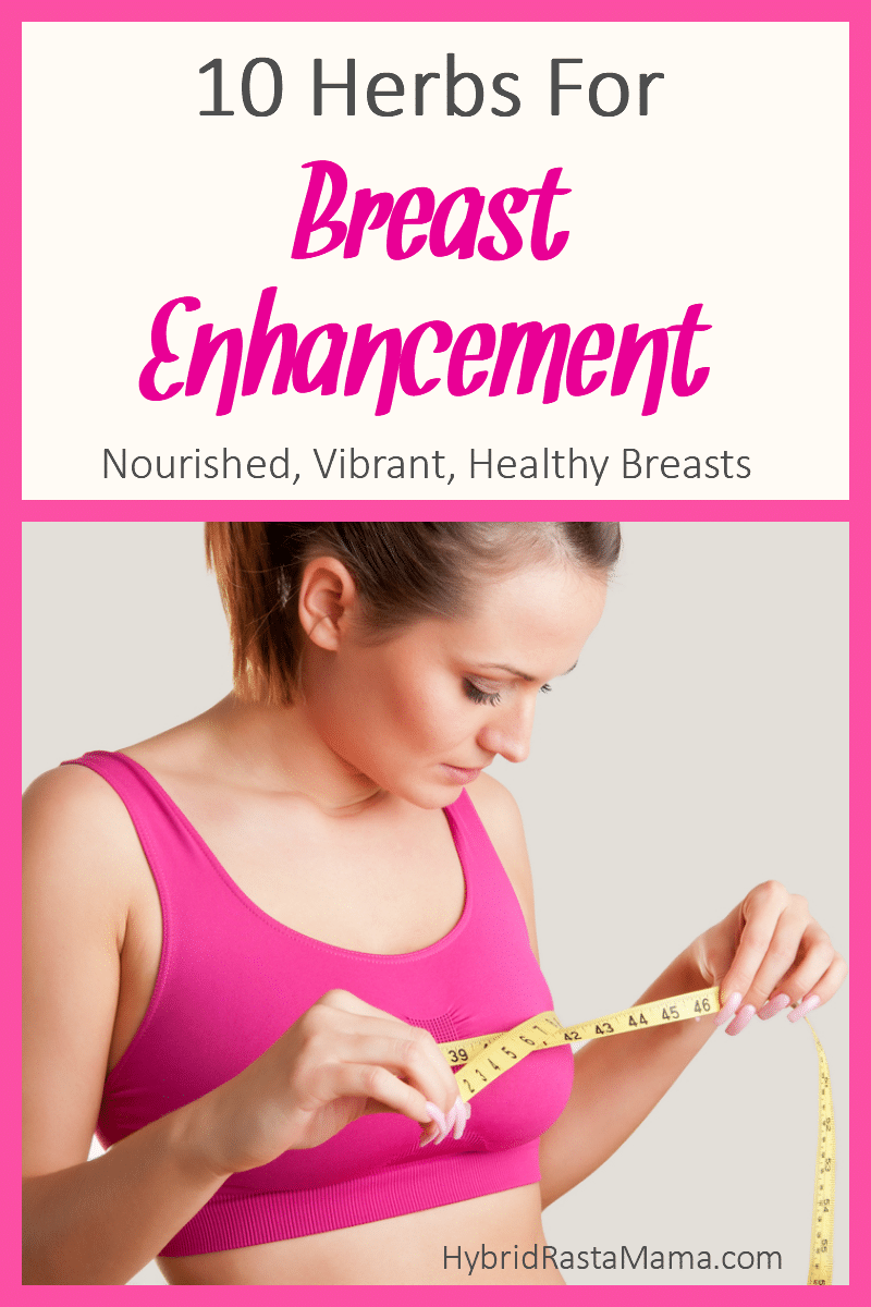 A woman wearing a pink sports bra is measuring the size of her breasts. She is wondering if there are herbs for breast enhancement.