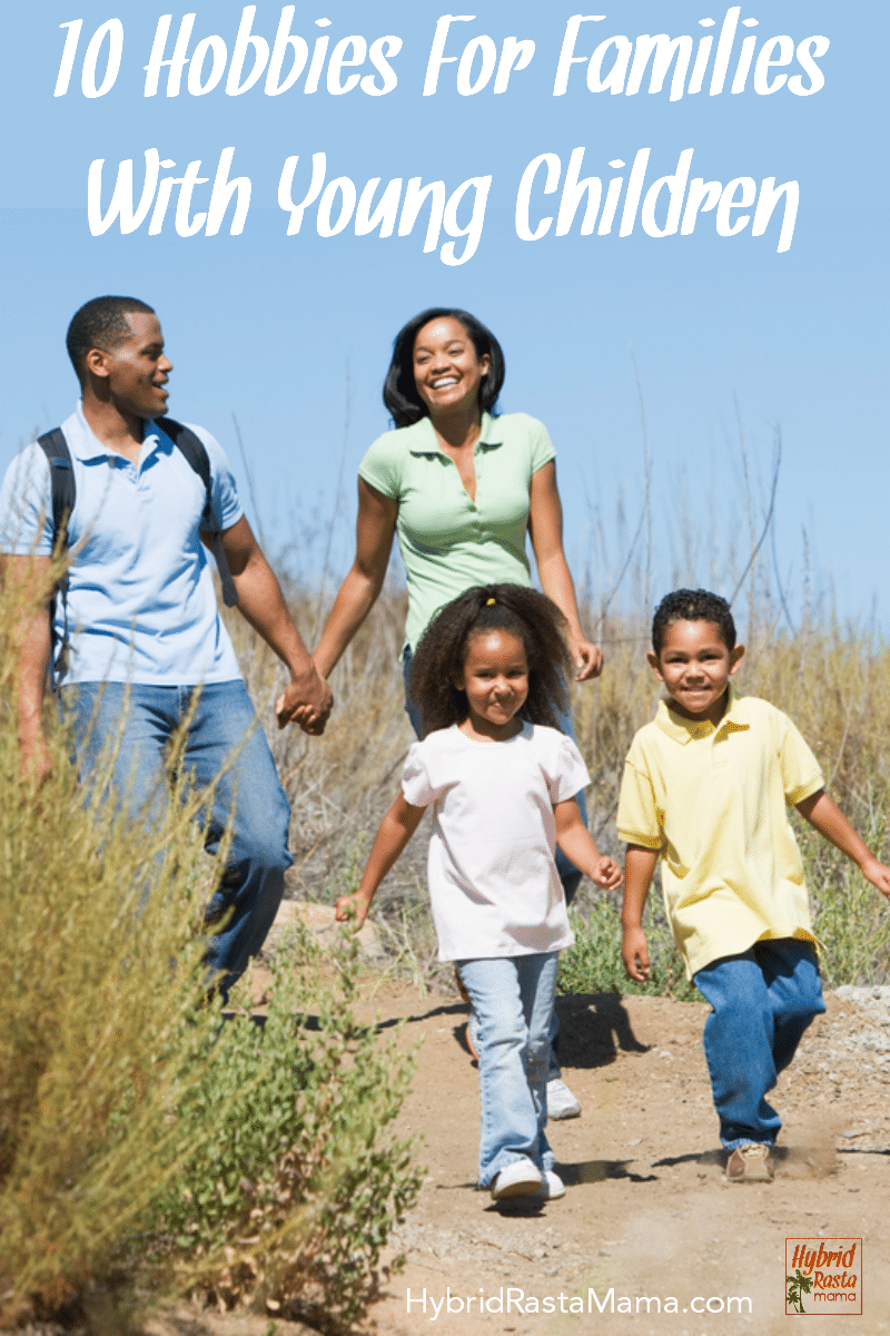 An african american family taking a walk along a trail.