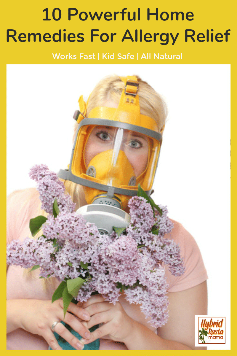 A woman with a face mask holding purple flowers longing for natural allergy relief