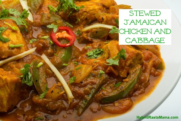A Jamaican stewed chicken recipe from the Sav-La-Mar region. Pair it with this light cabbage side dish and you have an authentic Jamaican meal! From HybridRastaMama.com