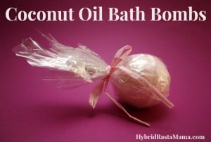 A simple recipe for amazing coconut oil bath bombs! Easy to make, frugal, and fun, these bath bombs make great gifts. Or just keep them all for yourself. From HybridRastaMama.com