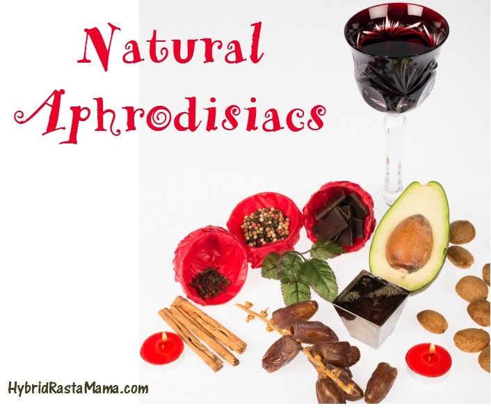 Collage of natural aphrodisiac foods and herbs.