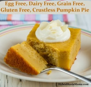 A faux pumpkin pie for those with food allergies! This Crustless Pumpkin Pie is free of common allergens but big on taste and will fool even the biggest pumpkin lover! Brought to you by HybridRastaMama.com.
