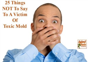 25 Things NOT To Say To A Victim Of Toxic Mold (some will have you in tears while some will give you a chuckle). This list also applies to other tragedies. From HybridRastaMama.com