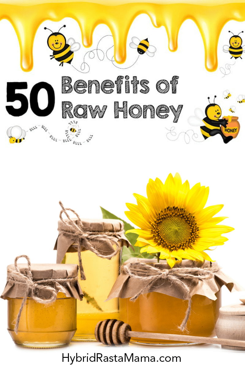 """Various containers of raw honey along with cartoon honeybees and honey dripping. The words """"50 benefits of raw honey"""" are in the center of the image."""