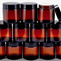 4 ounce Amber Colored Glass Jars