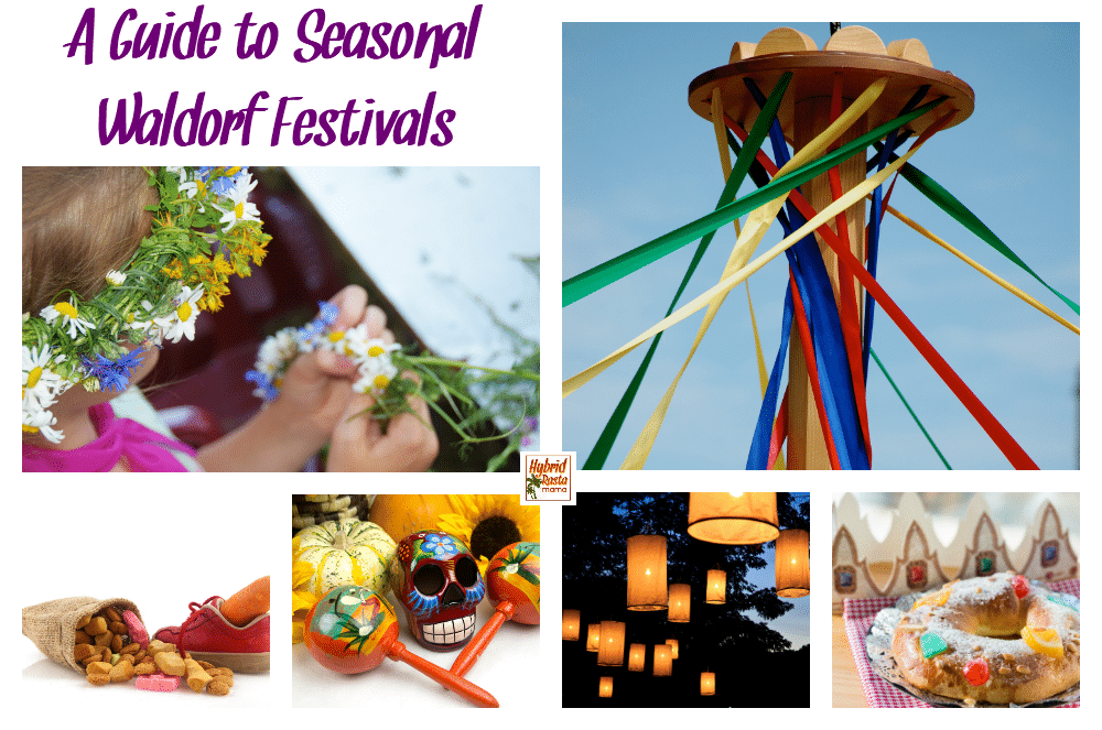 Various seasonal waldorf festivals including May Day with a May Pole, Three Kings Day, Dia de los Muertos, the Lantern festival, and more