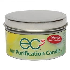 As an EC3 Candle burns, the heat from the flame aerosolizes and disperses an all-natural, antifungal ingredient embedded in the soy wax into the air. In independent lab tests, EC3 Candles were able to reduce the mycotoxin count in a room by 90% in less than 3 hours. Learn more from HybridRastaMama.com