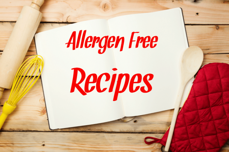Allergen free recipes written on a cookbook that is opened to the center page