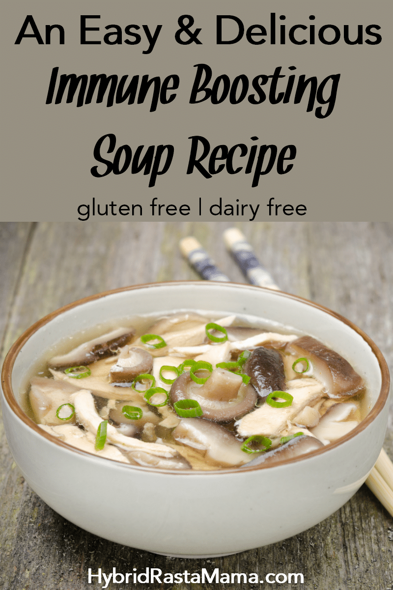 A bowl of easy and delicious immune boosting soup with chinese herbs and vegetables