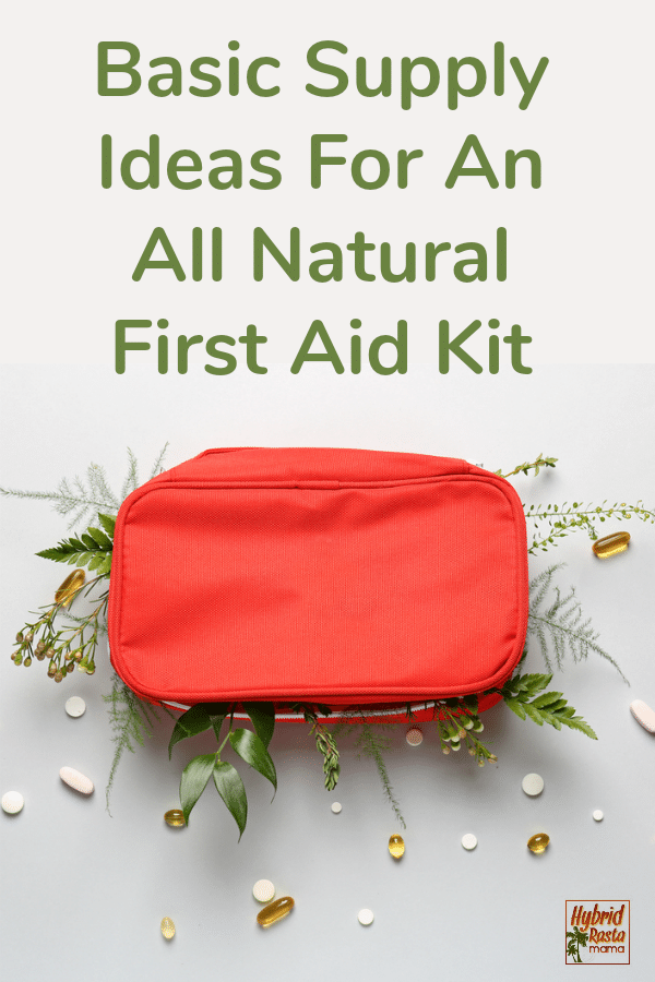natural first aid kit supplies in a red cloth pouch.