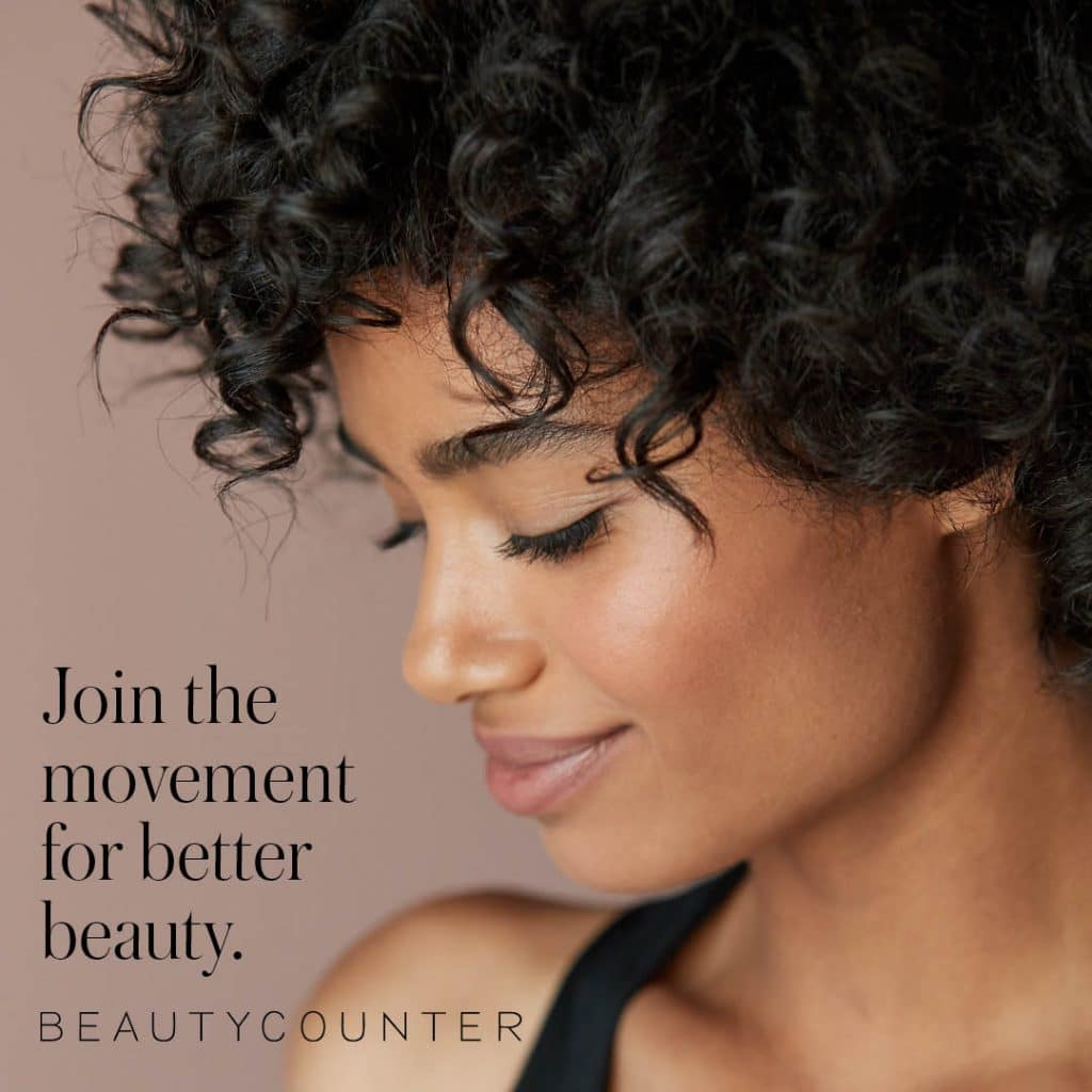 Beautycounter mantra next to a woman with healthy skin