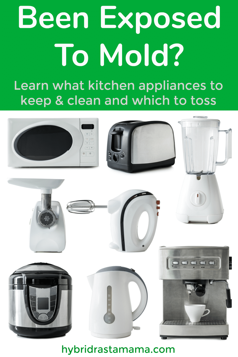 A collage of kitchen appliances that have been exposed to mold