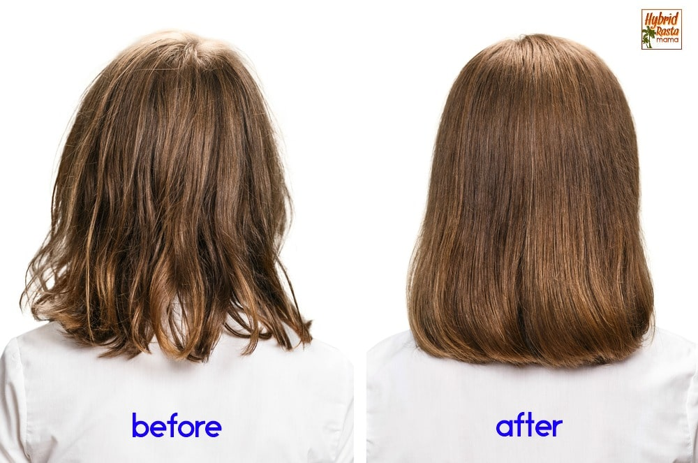 Two side by side images of the back of a woman's head with medium brown hair. Before shot with damaged hair. After shot showing healthy hair.