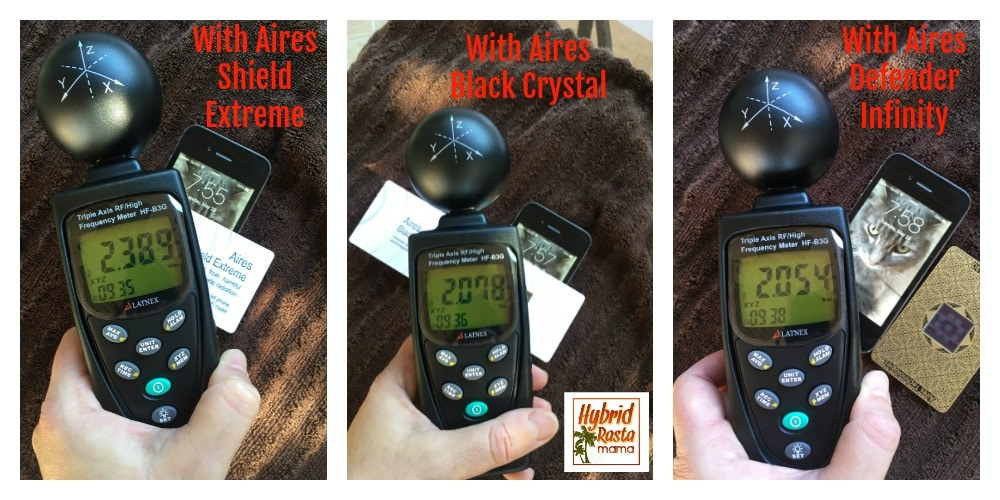 Cell Phone With Aires EMF Protection Devices
