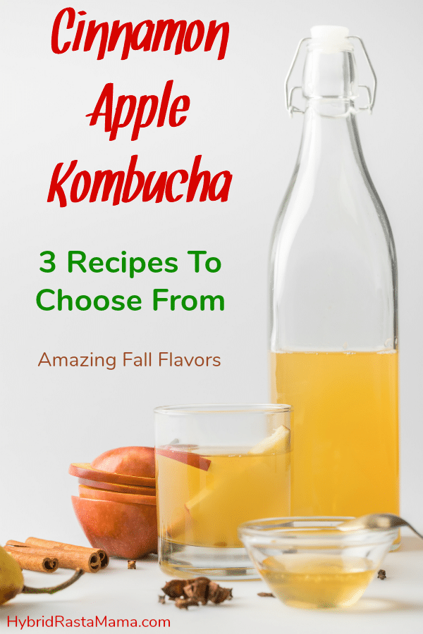 Bottle of cinnamon apple pie kombucha next to a half filled glass surrounded by apple slices