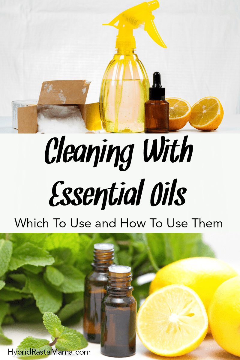 An essential oil cleaner in a yellow spray bottle. There are orange slices, an essential oil bottle, baking soda, and scrubbing pads next to it.