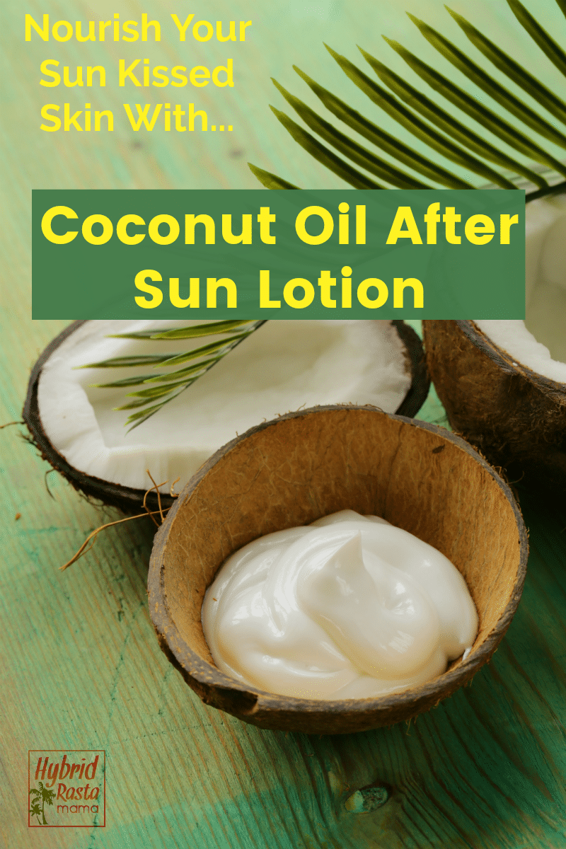 A bowl of coconut oil after sun lotion next to a palm frond and a half coconut