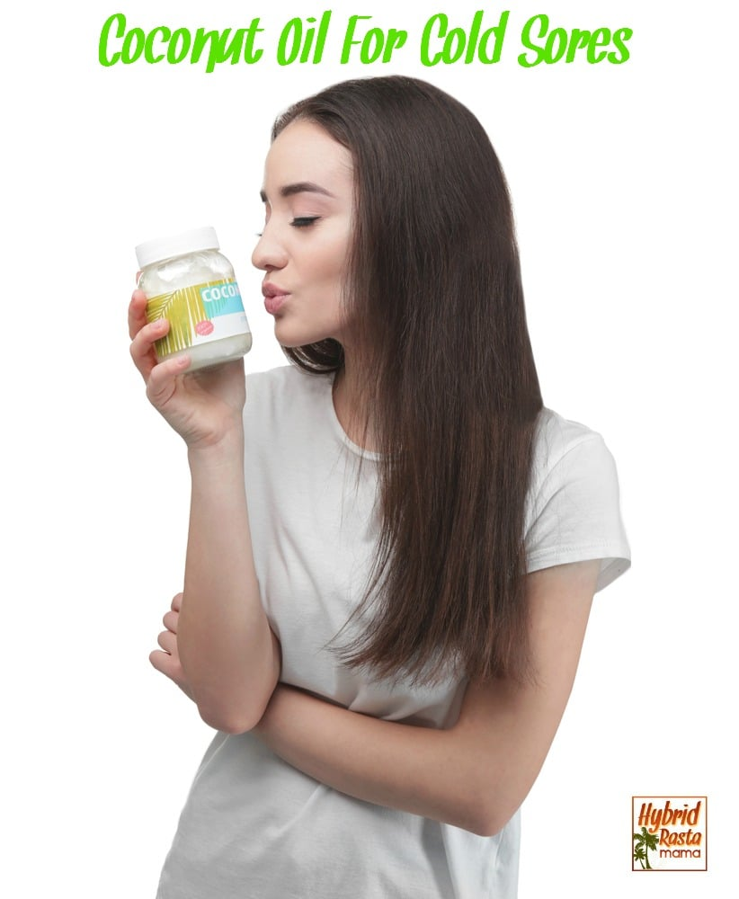Woman kissing a jar of coconut oil because it got rid of her cold sores fast