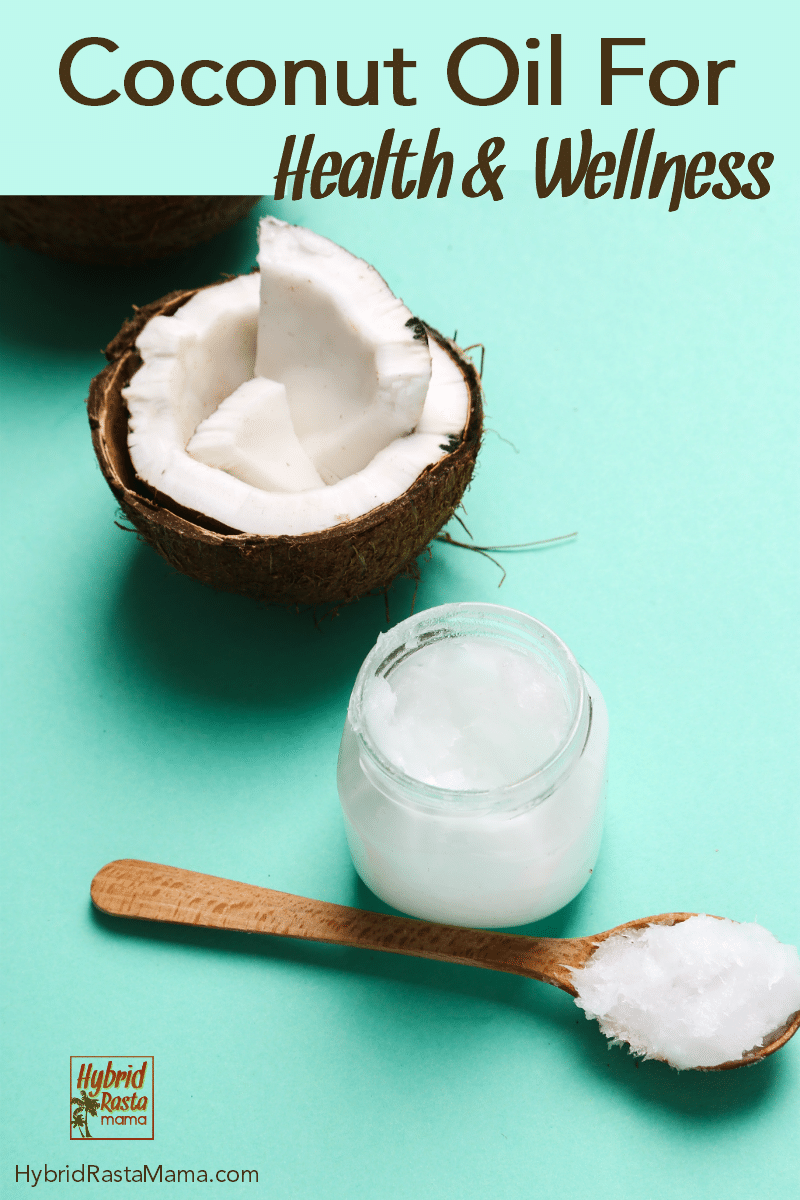 "Coconut oil on a wooden spoon, coconut oil in a glass jar without a lid, a half of a coconut with coconut chunks in it, on a teal background with the caption ""coconut oil for health and wellness."""