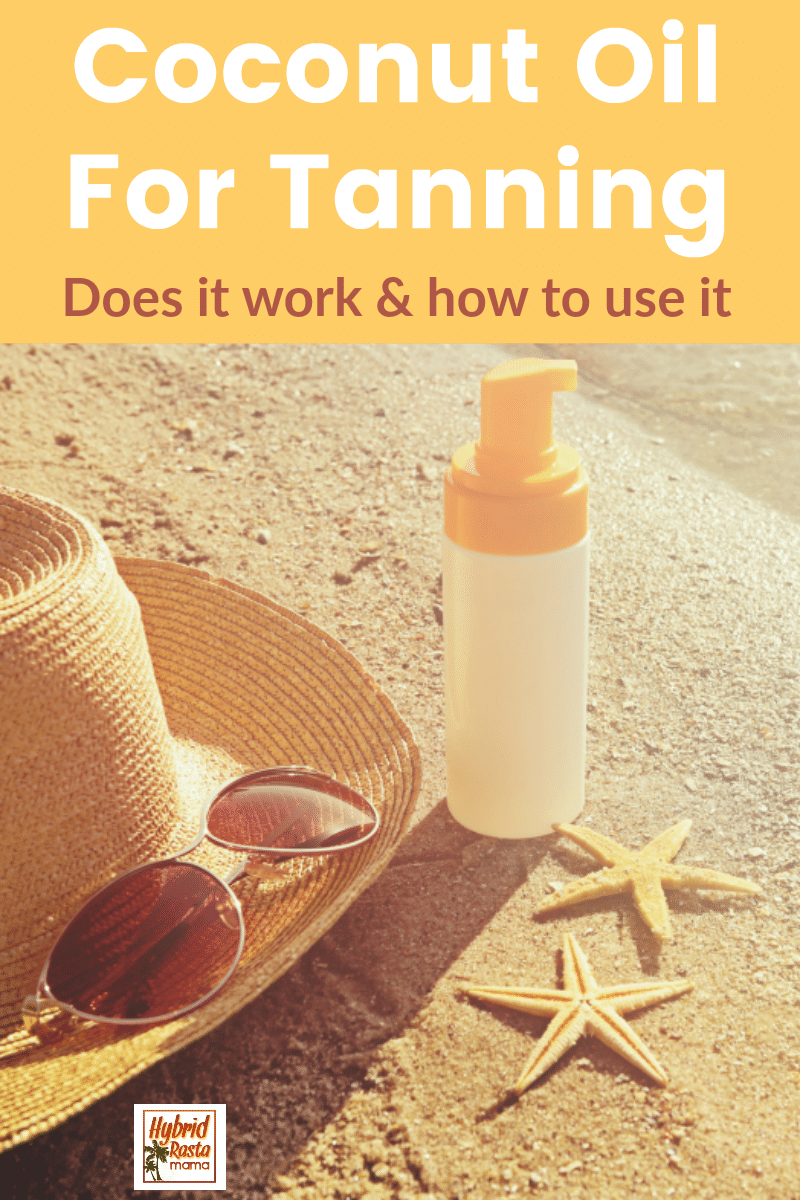 A beach scene with a straw hat, sunglasses, a starfish, and a pump bottle of coconut oil for tanning.