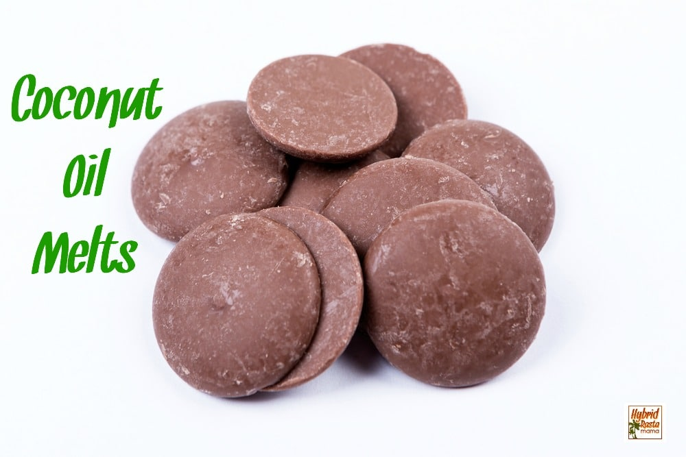 Coconut oil chocolate melts on a white background
