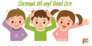 Three children with head lice using coconut oil to get rid of lice and eggs