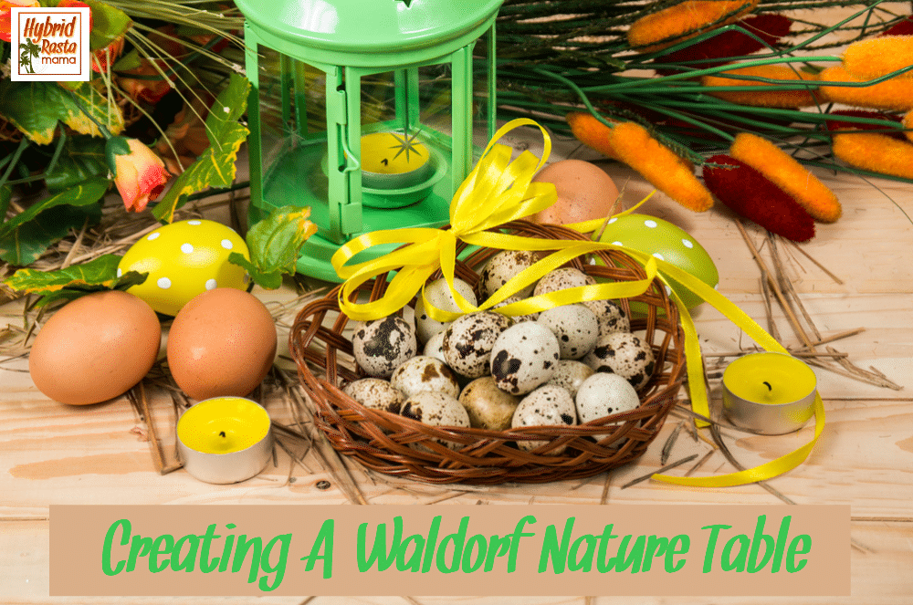 A spring Waldorf Nature Table with eggs and baskets