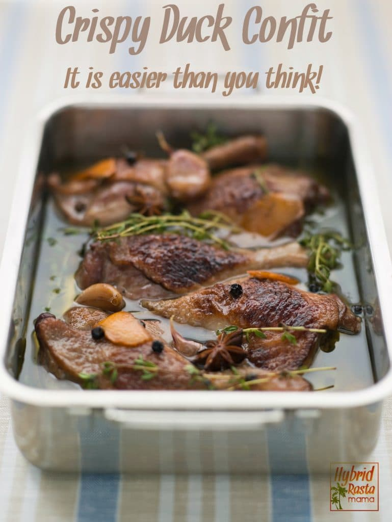 While duck isn't a typical staple dish for many, once you try this cripsy duck confit you will quickly add it to your dinner rotation. So moist, so good! From HybridRastaMama.com