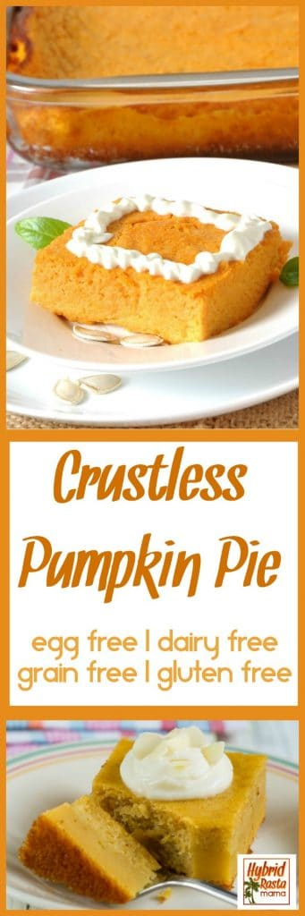 A faux pumpkin pie for those with food allergies! This Crustless Pumpkin Pie is free of common allergens (gluten free, grain free, nut free, egg free, and dairy free) but big on taste and will fool even the biggest pumpkin lover! Brought to you by HybridRastaMama.com.
