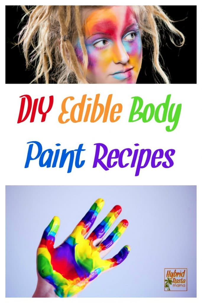 A hand painted in a colorful rainbow. A woman with dreadlocks with edible body paint and face paint on her face.