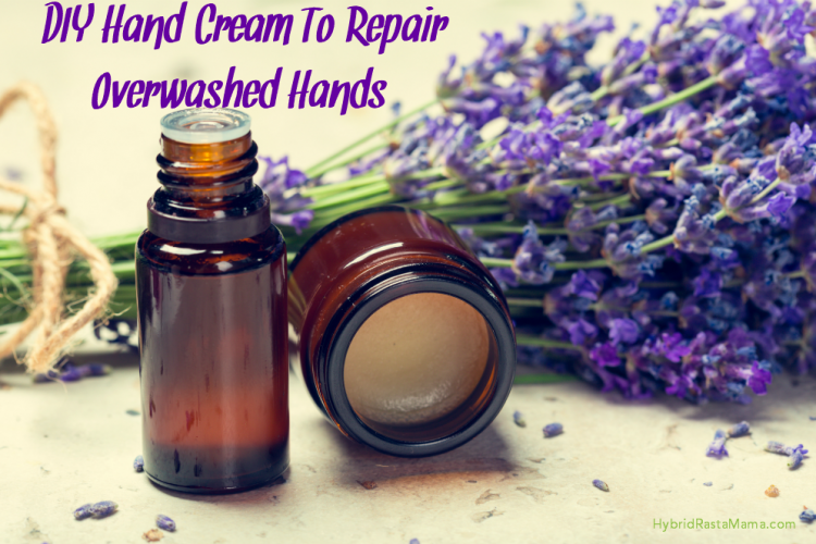 DIY Hand Cream To Repair Overwashed Hands in an amber colored jar with lavendar sprigs next to it