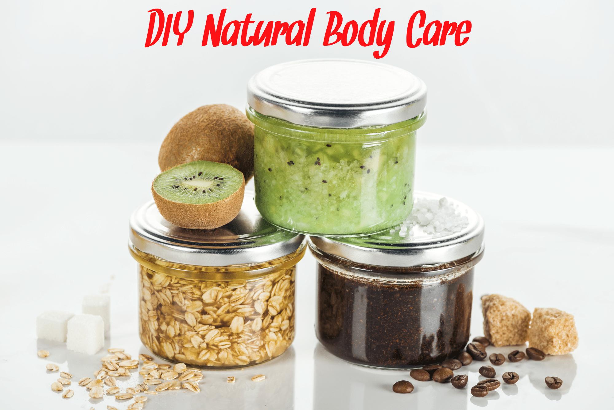 Homemade DIY scrubs including a coffee scrub, a kiwi scrub, and an oatmeal scrub. All in glass jars.