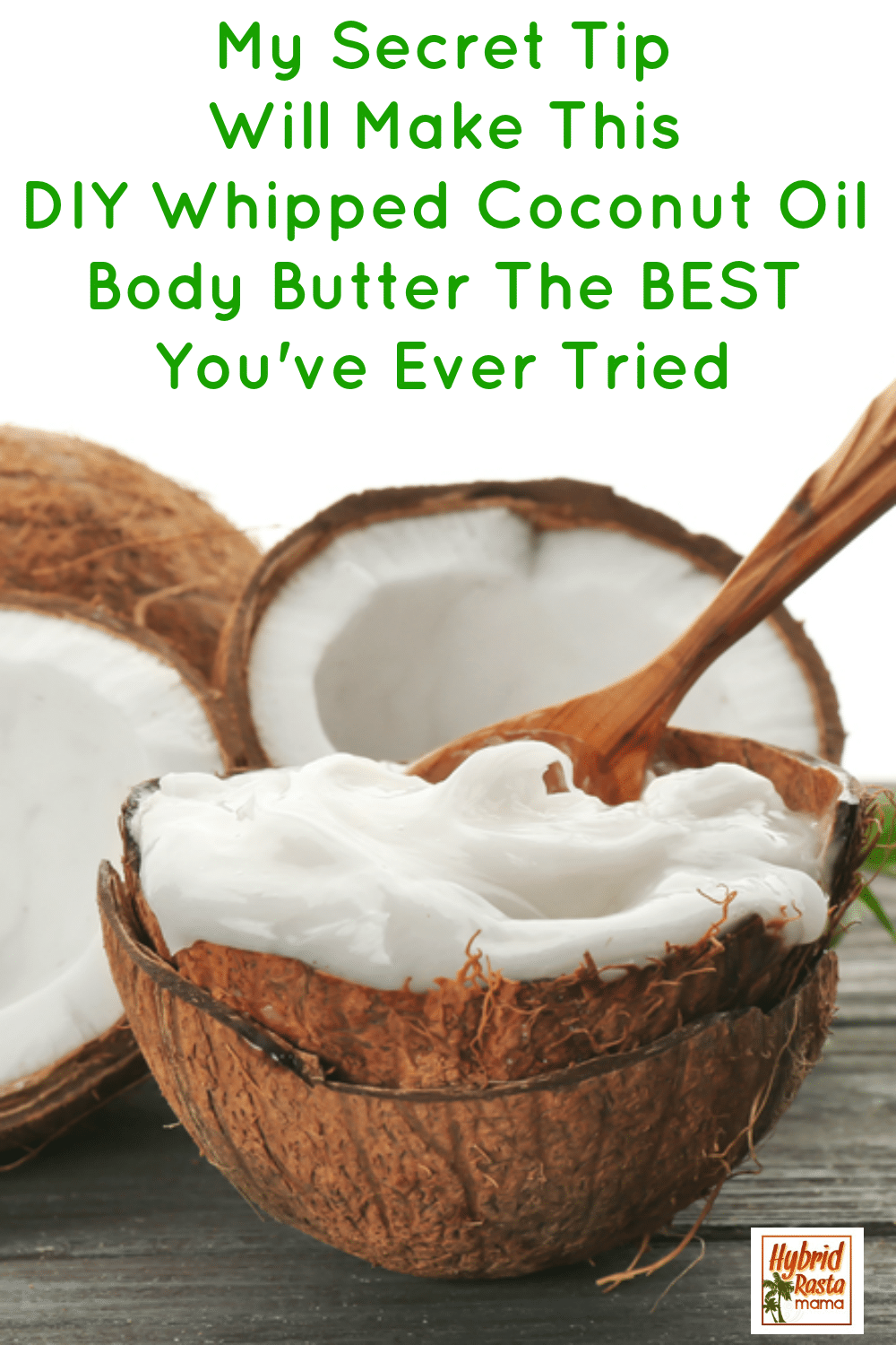 Coconut oil whipped body butter in a half of coconut shell