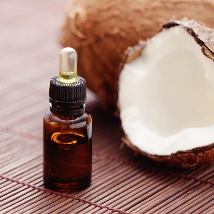 bottle of coconut oil healing oil for jock itch