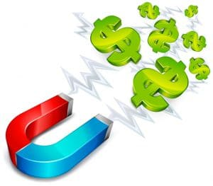 A blue and red magnet pulling green dollar signs towards it