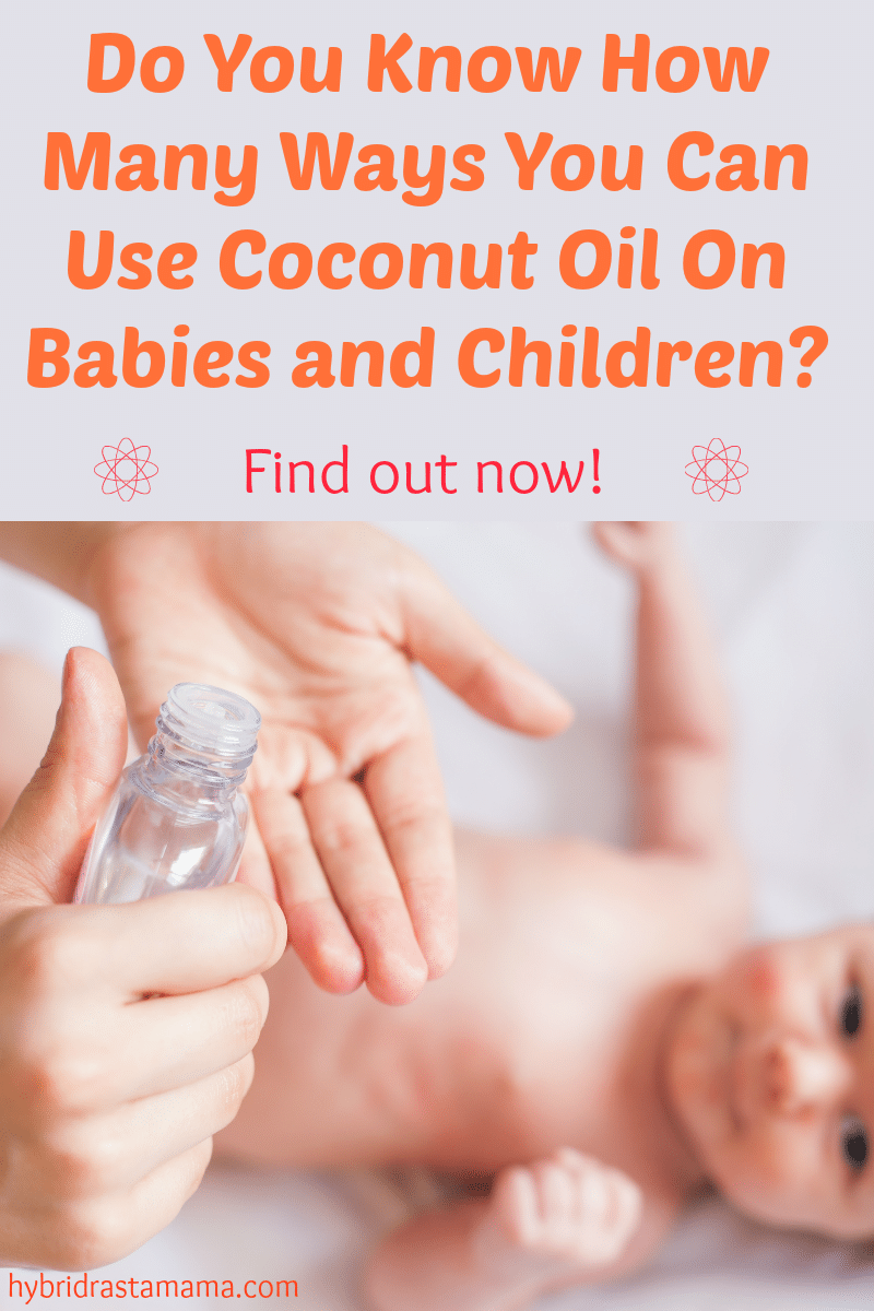 A mother applying coconut oil to her baby's skin. Showing the ways to use coconut oil on babies and children.