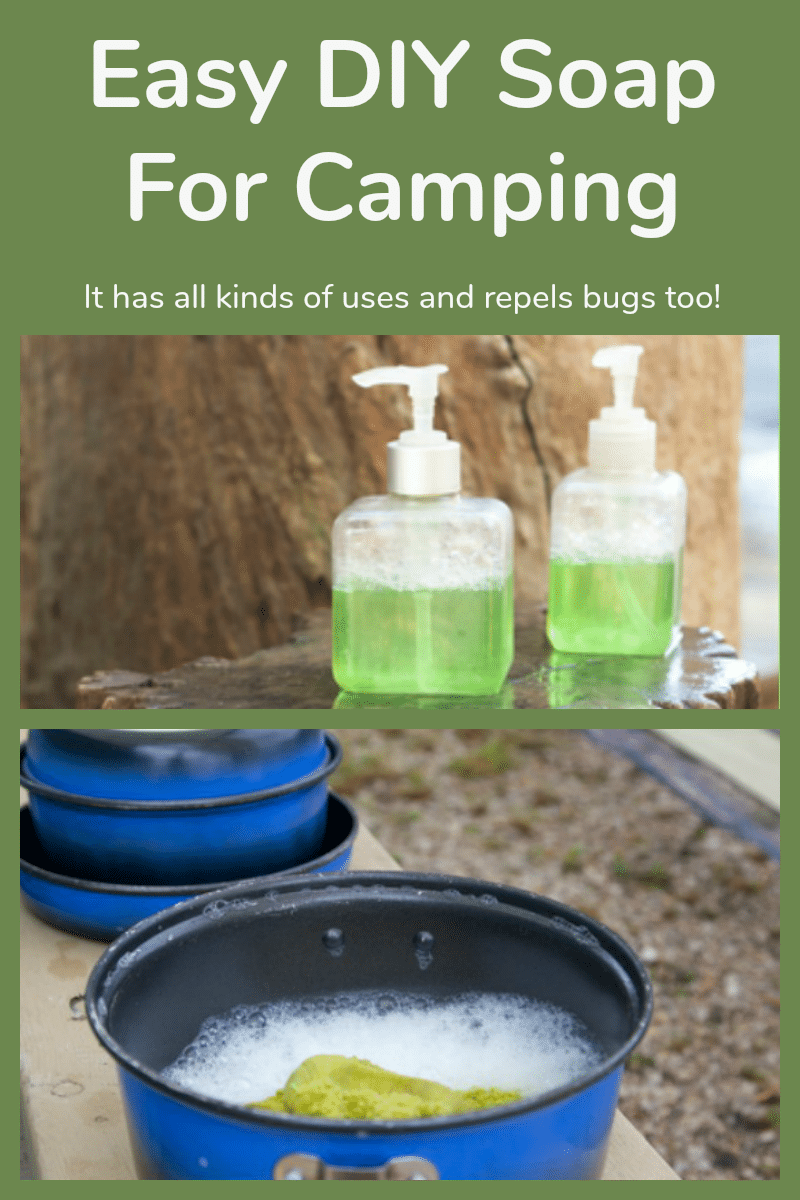 Two bottles of DIY neem soap for camping and a picture of dishes being washed