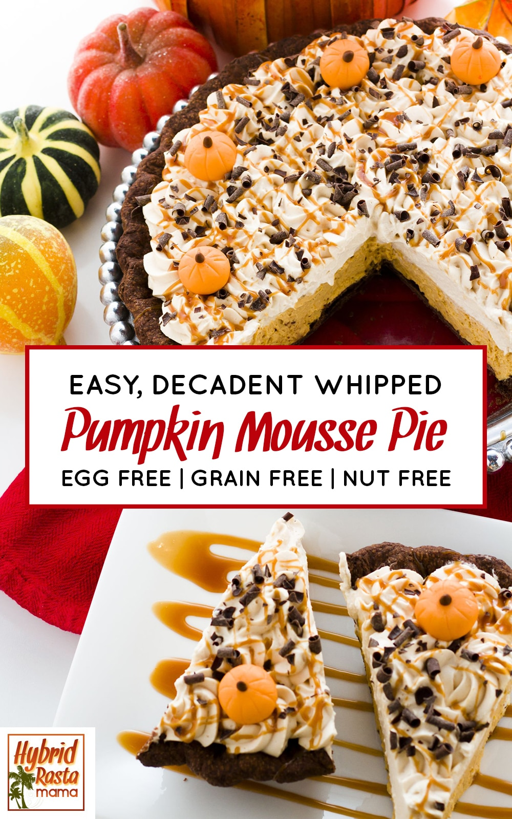 Gluten free double layer chocolate whipped pumpkin mousse pie