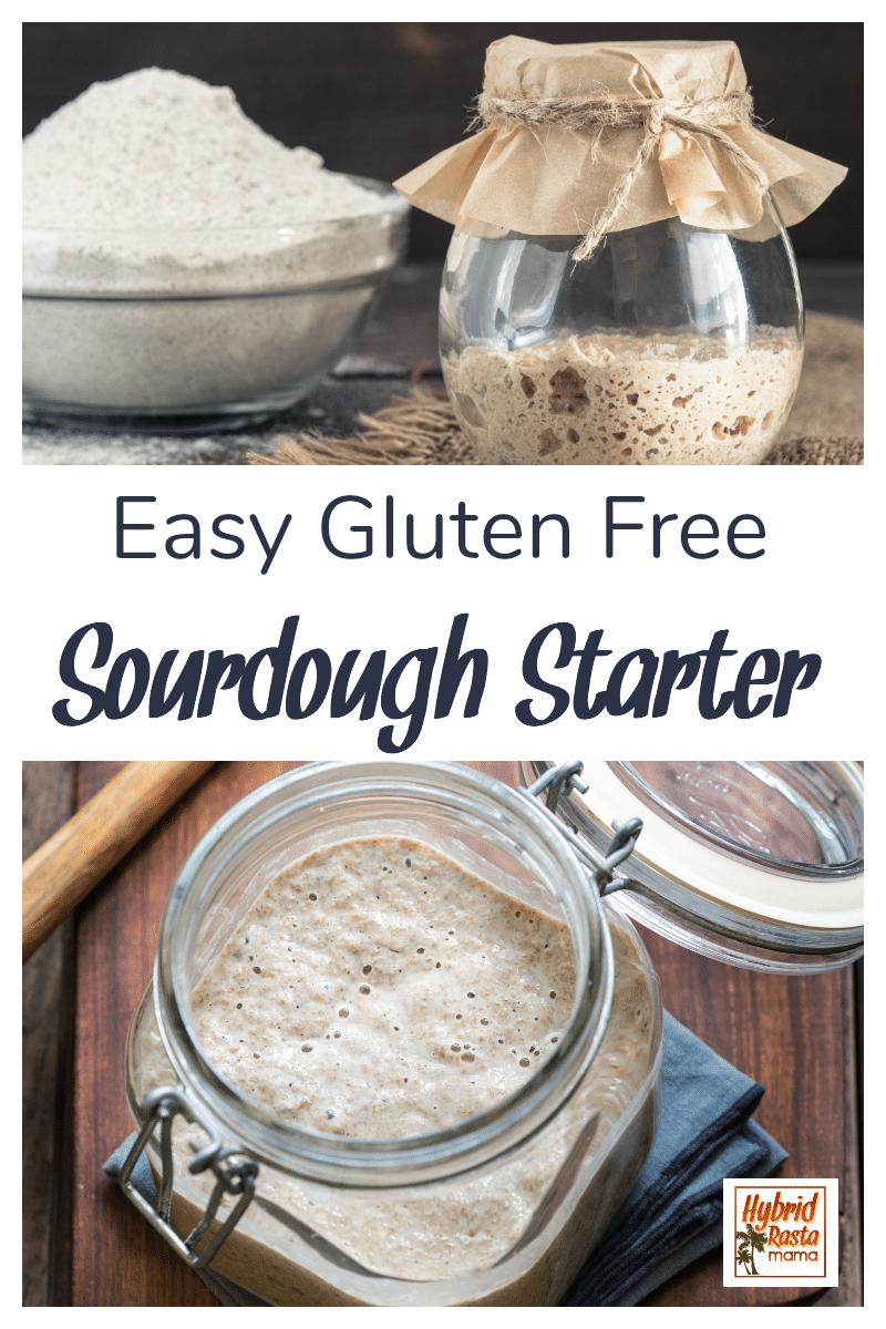 A jar with a gluten free sourdough starter next to a bowl of gluten free flour blend
