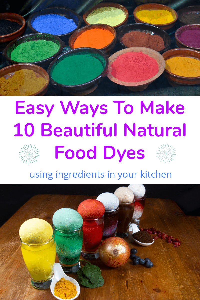 Homemade natural food coloring powders and natural food dye in cups