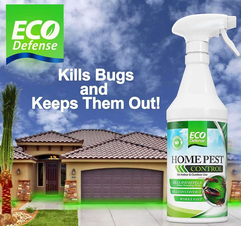 EcoDefense Home Pest Control Spray Bottle in front of a new home with a tile roof. Blue sky with some clouds above the roofline