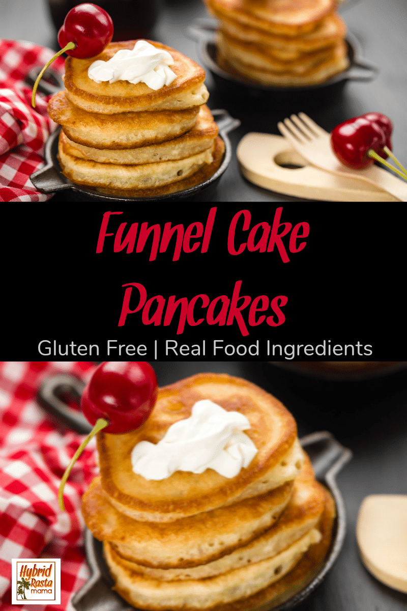 A short stack of gluten free funnel cake pancakes on a brown plate next to a red and white checkered napkin