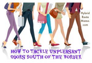 Illustration of the lower hald of people walking - genital odor blog post