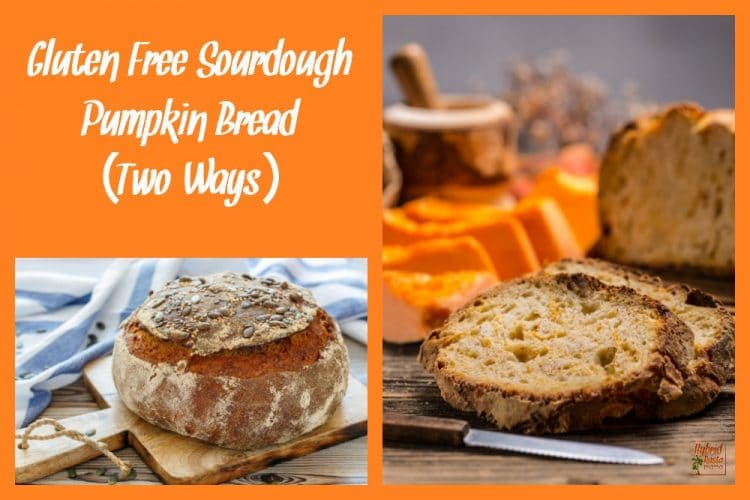Two images on an orange background. One image is slices of gluten free sourdough pumpkin bread with sliced pumpkin in the background. Both sit on a wooden cutting board. The second image is the full round loaf of sourdough pumpkin bread sitting on a wooden cutting board with a blue and white striped table cloth.