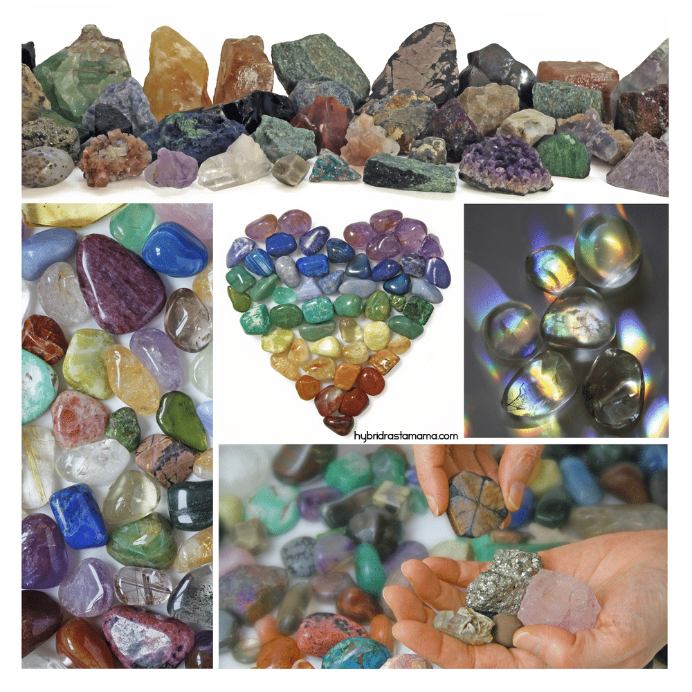 A collage of healing crystals and gemstones