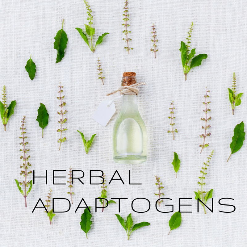 herbal adaptogens in a circle formation with a clear perfume style bottle in the center