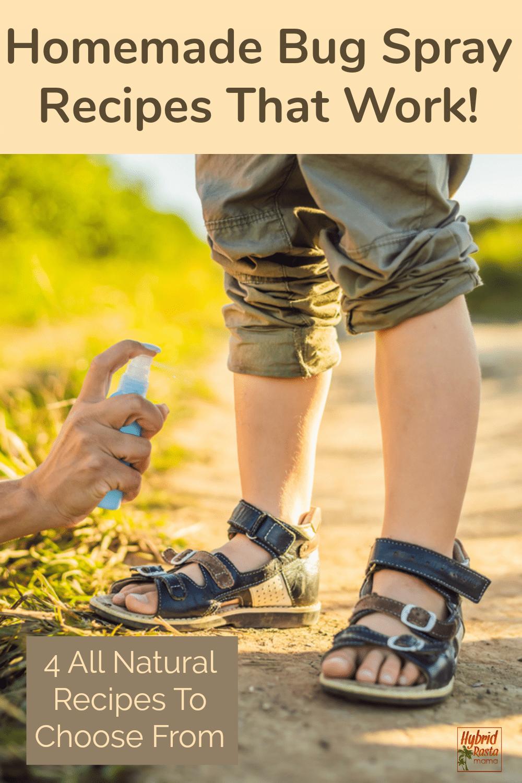 A mom spraying a child's leg with homemade bug spray