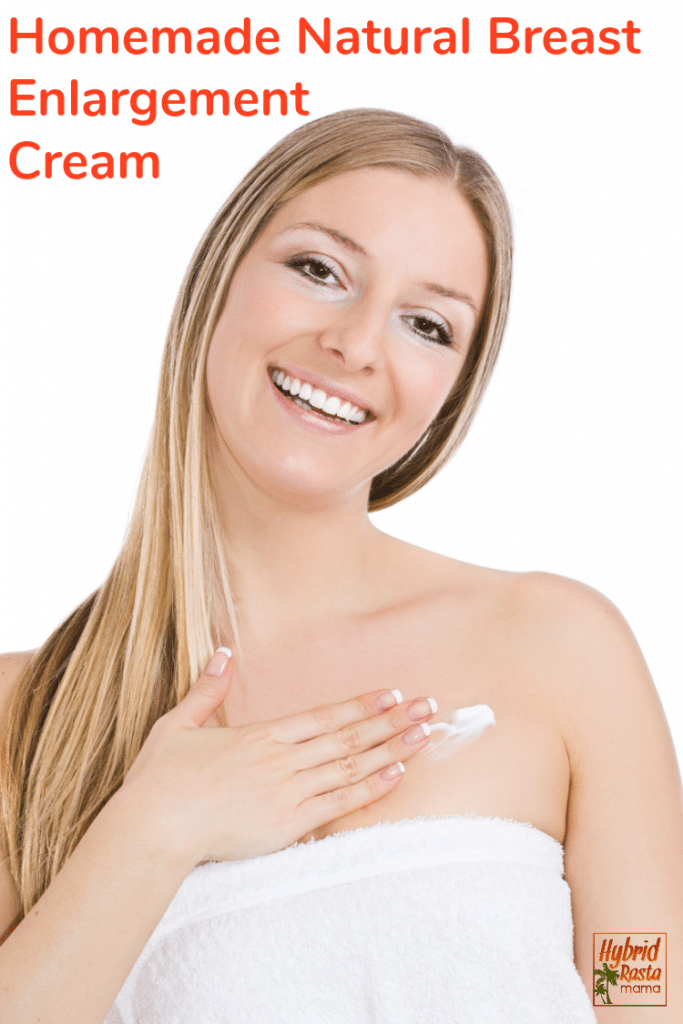 A blond woman wrapped in a white towel rubbing homemade natural breast enlargement cream above her chest